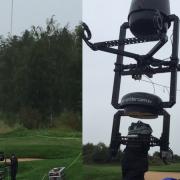 starker Regen in St. Leon Rot beim Solheim Golf Cup 2015 Aufbau